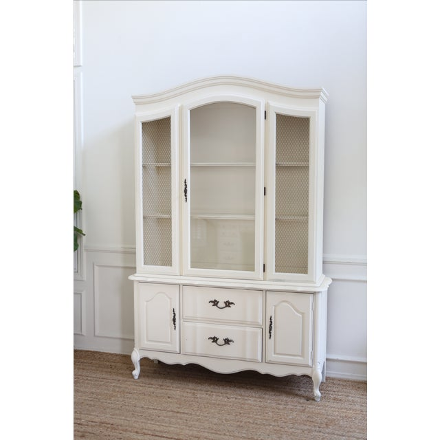 shabby chic white vintage china cabinet chairish. Black Bedroom Furniture Sets. Home Design Ideas