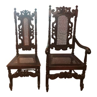 His & Hers Antique Wooden Throne Chairs - A Pair