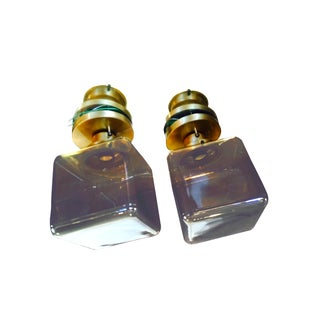 Smoked Glass Cube Flush Mount Pendants - Pair