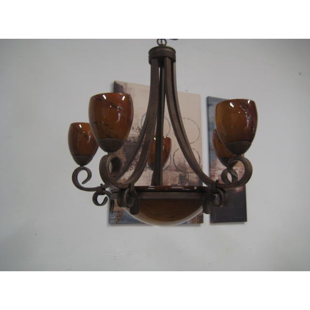 Blown Glass Rustic Chandelier - Image 7 of 8