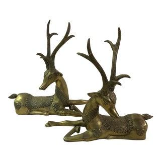 Brass Sarried Resting Deer - A Pair