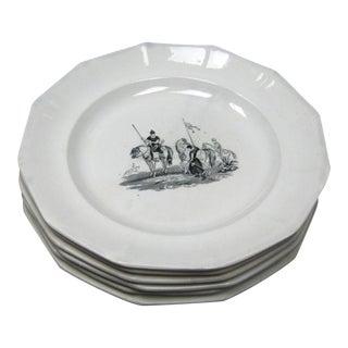 Antique English Ironstone Transfer Ware Battle Scene Plates- Set of 6