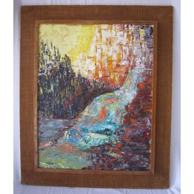 Image of J. Mader Signed Mid Century Painting
