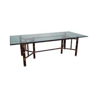 McGuire Glass Top Rattan Dining Table