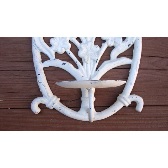 Image of Painted White Cast Iron Floral Candle Sconces - 2