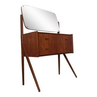 Teak Mid-Century Vanity With Mirror
