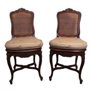 Vintage Louis XV Walnut Caned Side Chairs - A Pair