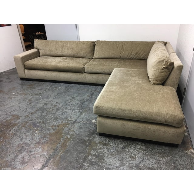 Cisco Furniture Green Velvet Two Piece Sectional - Image 6 of 11