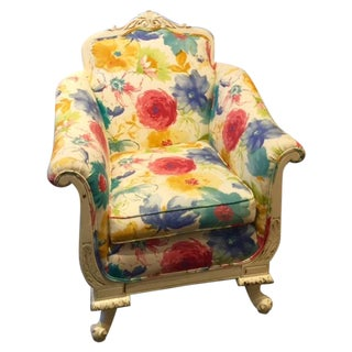 Floral and Plaid Club Chair