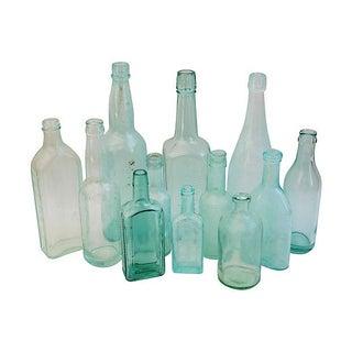 Aqua & Teal Antique Bottles - Set of 12