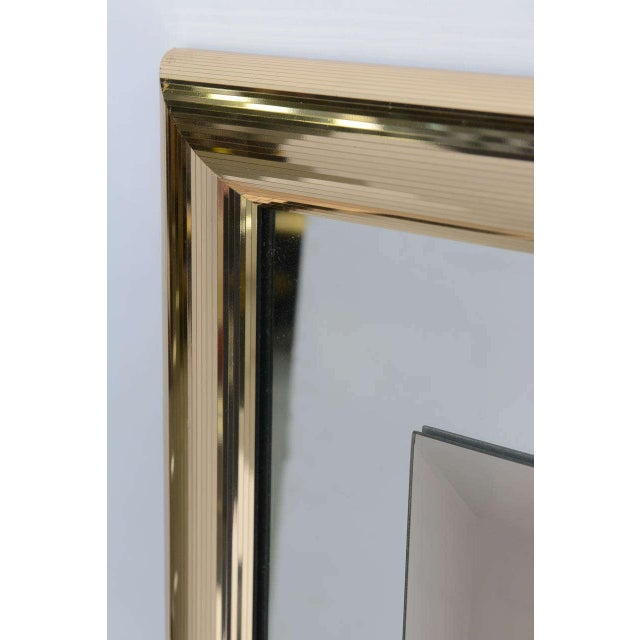 Sleek 1970s Faceted Brass Mirror with Center Bronze Mirror - Image 6 of 8