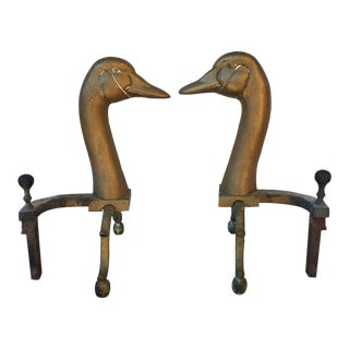 Vintage Early Brass Swan Andirons - Pair