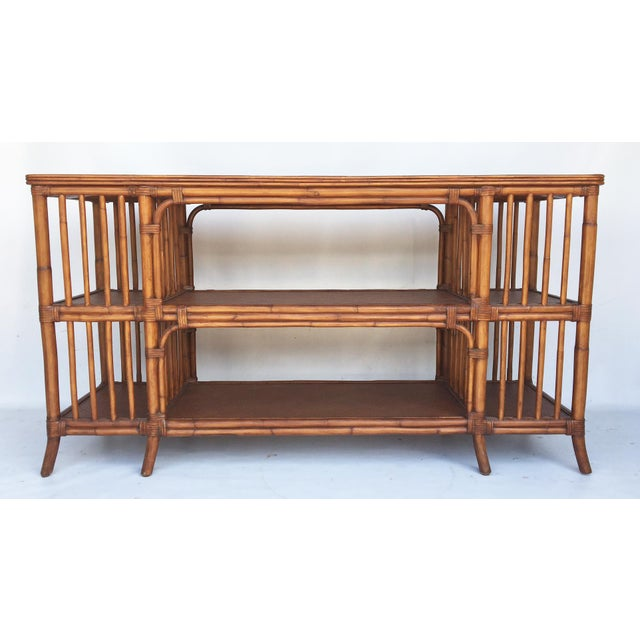 Reeded Bamboo and Woven Rattan Open Shelf ConsoleTable - Image 3 of 6