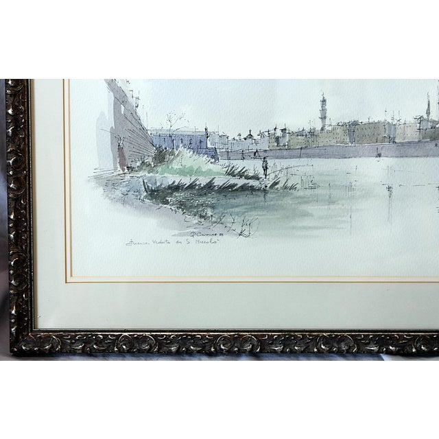 Framed Pen & Ink Watercolors - a Pair - Image 8 of 8
