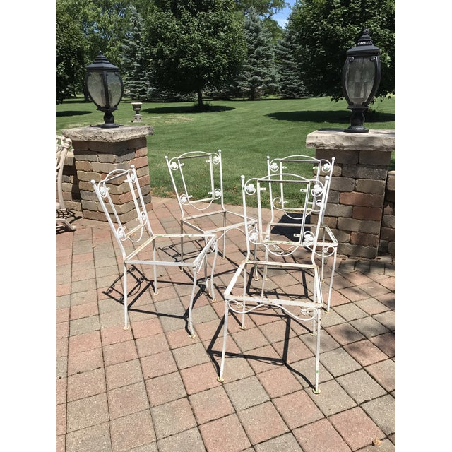 Vintage Wrought Iron Chairs - Set of 4 - Image 3 of 8