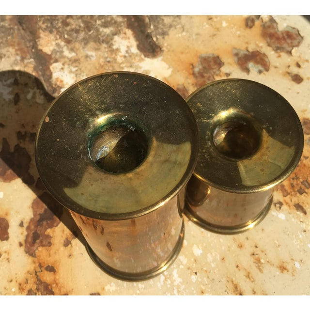Vintage Cylindrical Brass Candle Holders - A Pair - Image 3 of 6