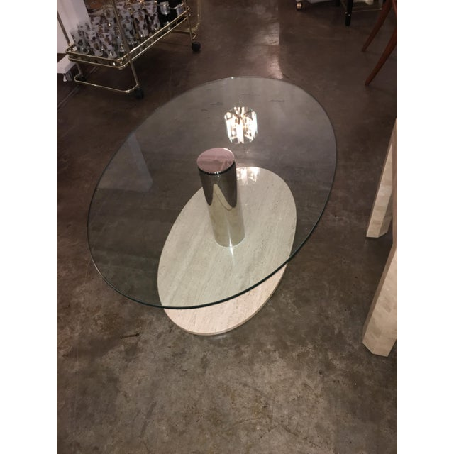Mario Bellini for Cassina Travertine and Chrome Coffee Table with Glass - Image 7 of 9