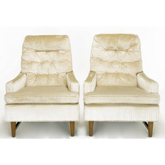 Pair of 1960s High Back Ivory Cut Velvet Lounge Chairs after Harvey Probber - Image 2 of 9