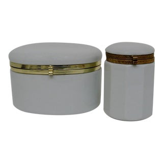 White Porcelain Canisters - A Pair