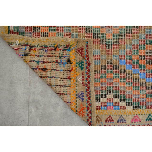 "Turkish Oushak Handmade Cotton Kilim Runner Rug - 3'2"" x 12'4"" - Image 9 of 10"