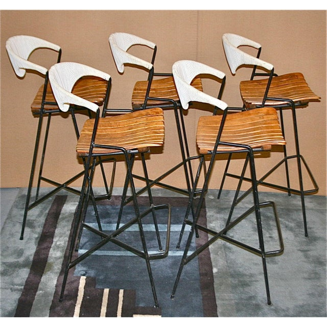 Vintage Arthur Umanoff Wrought Iron Barstools - Set of 5 - Image 3 of 11