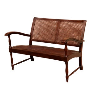 Colonial Style Caned Bench