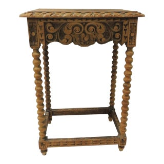 French Country Rustic Wood Side Table