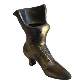 Vintage Brass Metal Shoe Planter
