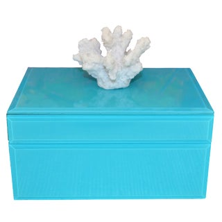 Coral & Turquoise Glass Trinket Box