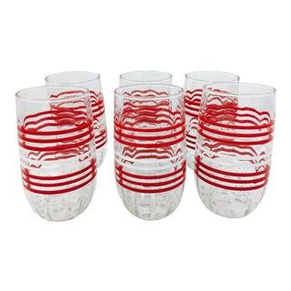 Vintage Red & White Stripe Glasses - Set of 6