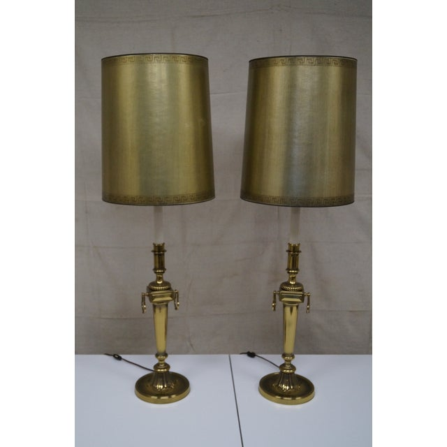 Image of Stiffel Hollywood Regency Lamps with Shades - Pair