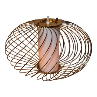 Mid-Century Gold Swirl Basket Pendant Light
