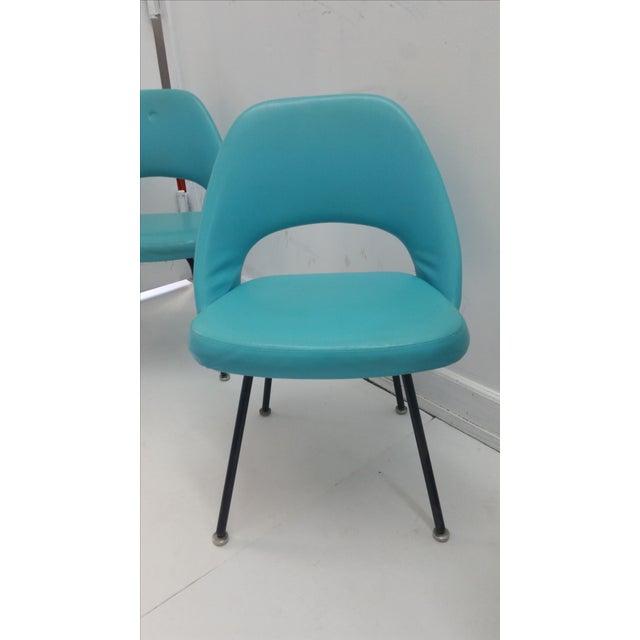 Eero Saarinen Turquoise Chairs - Set of 4 - Image 6 of 6