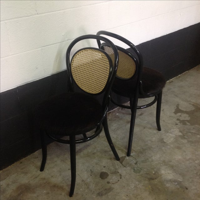 Cane Back Bentwood Chairs With Cowhide Seats - Image 4 of 8