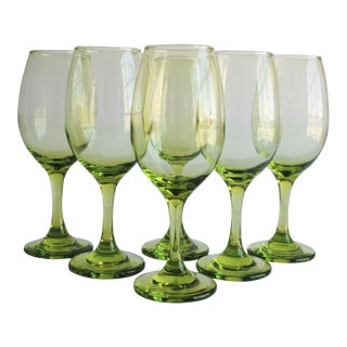 Vintage Chartreuse Wine Glasses, Set of 6
