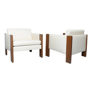 Walnut pair of Cubed Lounge Chairs