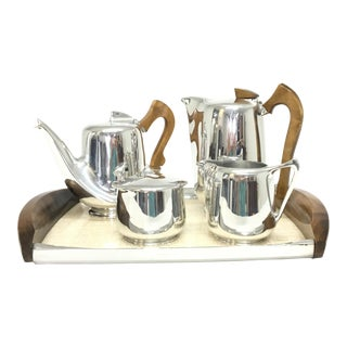 Mid-Century Modern Picquot Ware Tea Set - Set of 5