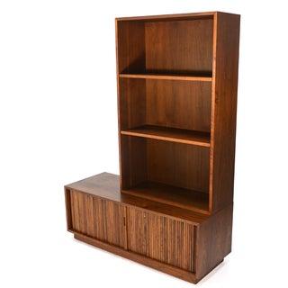 Walnut Tambour Cabinet and Shelf by Glenn of Cali.