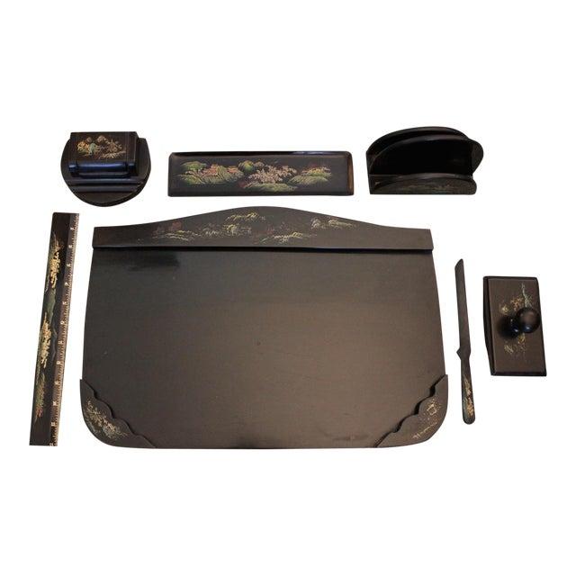 Image of Japanese Black Lacquer Desk Set - Set of 7