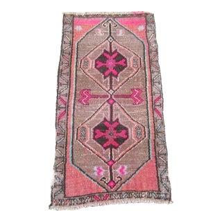 """Turkish Brown Wool Pile Small Vintage Rug - 1'4"""" x 2'8"""""""