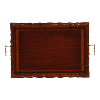 Pasargad NY Light Mahogany Tray with Brass Handles