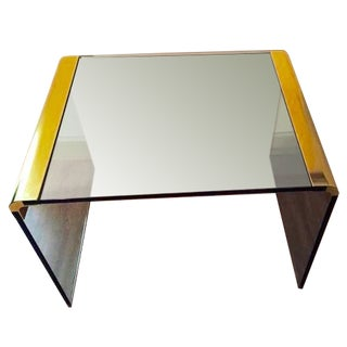 Pace Mid Century Brass & Glass End Table