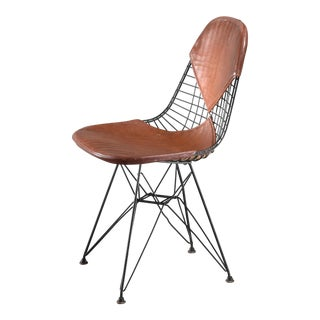 Eames Early DKR Wire Chair with Leather Bikini Seat on Eiffel Frame, USA, 1950s