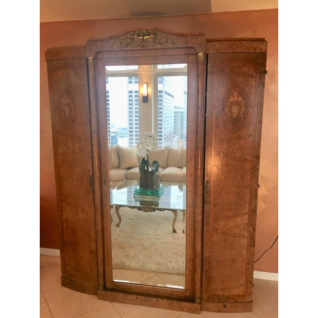 Antique French Burlwood Armoire With Mirror - Image 2 of 10