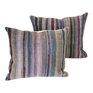 Amish Rag Rug Pillows with Linen Backing