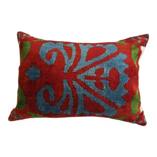 """Selena"" Ikat Silk Velvet Pillow"