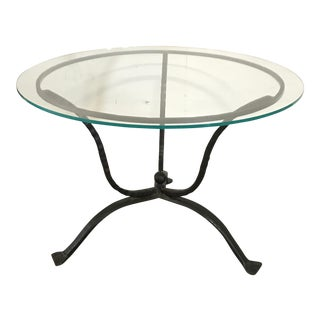 French Iron & Glass Round Dining or Center Hall Table