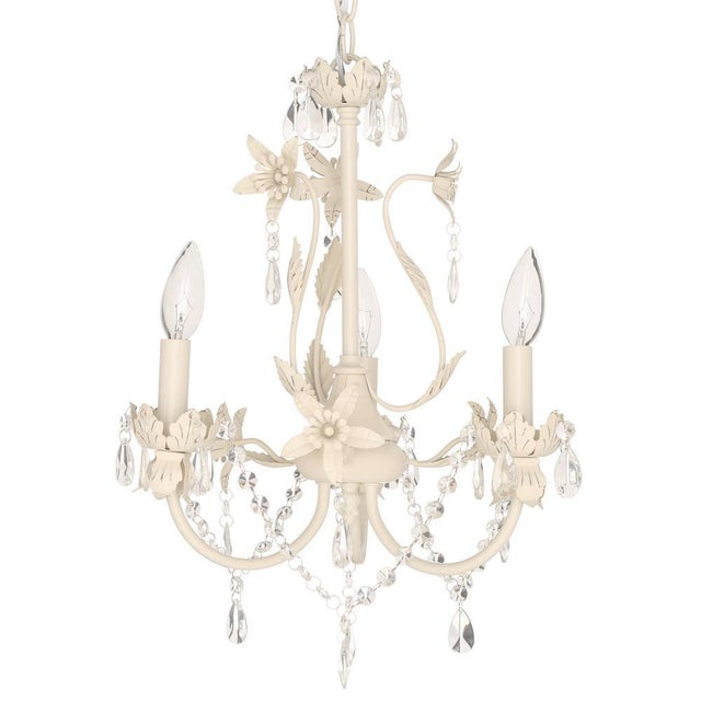 Crystal & Floral White Chandelier - Image 4 of 4