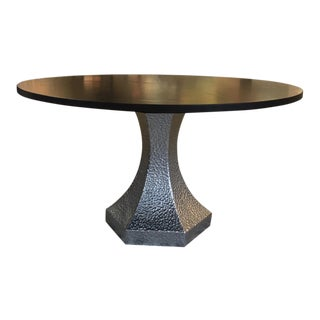 Custom Dark Stained Black Walnut Top Dining Table and Hammered Zinc Base