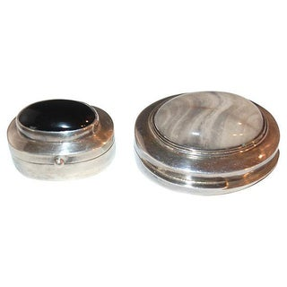 Sterling Silver Onyx & Quart Boxes - Pair
